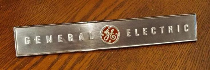 "Vtg 8.5"" GE General Electric Metal Equipment Sign/Plaque #GeneralElectric"