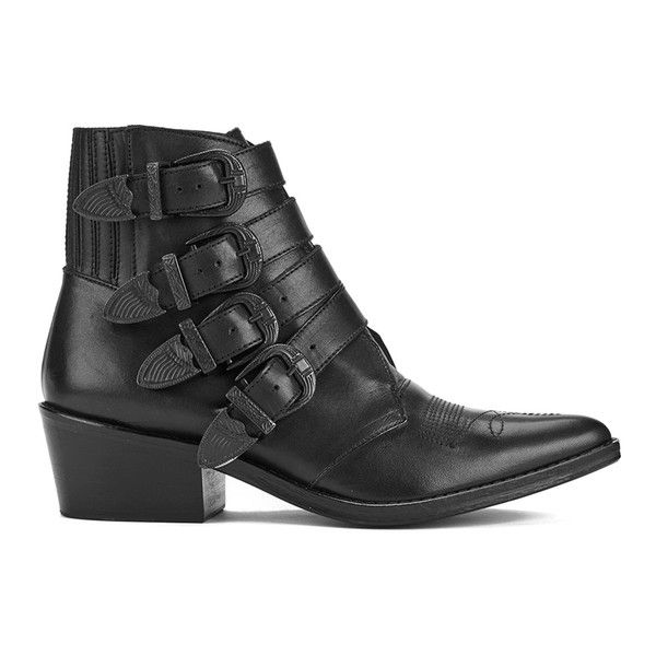 Toga Pulla Women's Limited Edition Buckle Side Leather Heeled Ankle... (£292) ❤ liked on Polyvore featuring shoes, boots, ankle booties, black, leather ankle boots, buckle ankle boots, black leather boots, black pointed toe booties and short black boots
