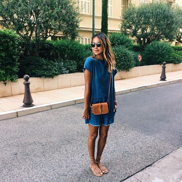 Denim blue shirt dress and tan YSL crossbody bag | A Stylish Life ...