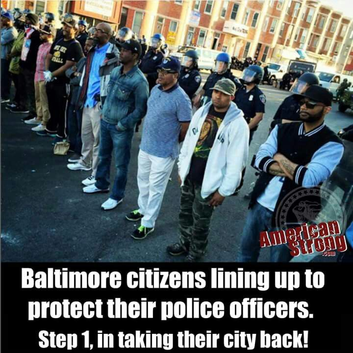 This is what protesters look like....protesting the utter mistreatment and abuse of their officers and their city by thugs. These people are heroes.