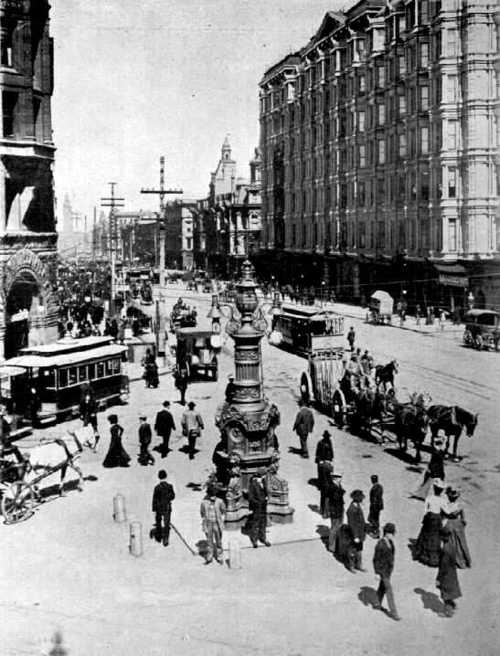 Lotta's Fountain - San Francisco, CA, 1905. Survivors of the 1906 earthquake met here each year to mark the anniversary.