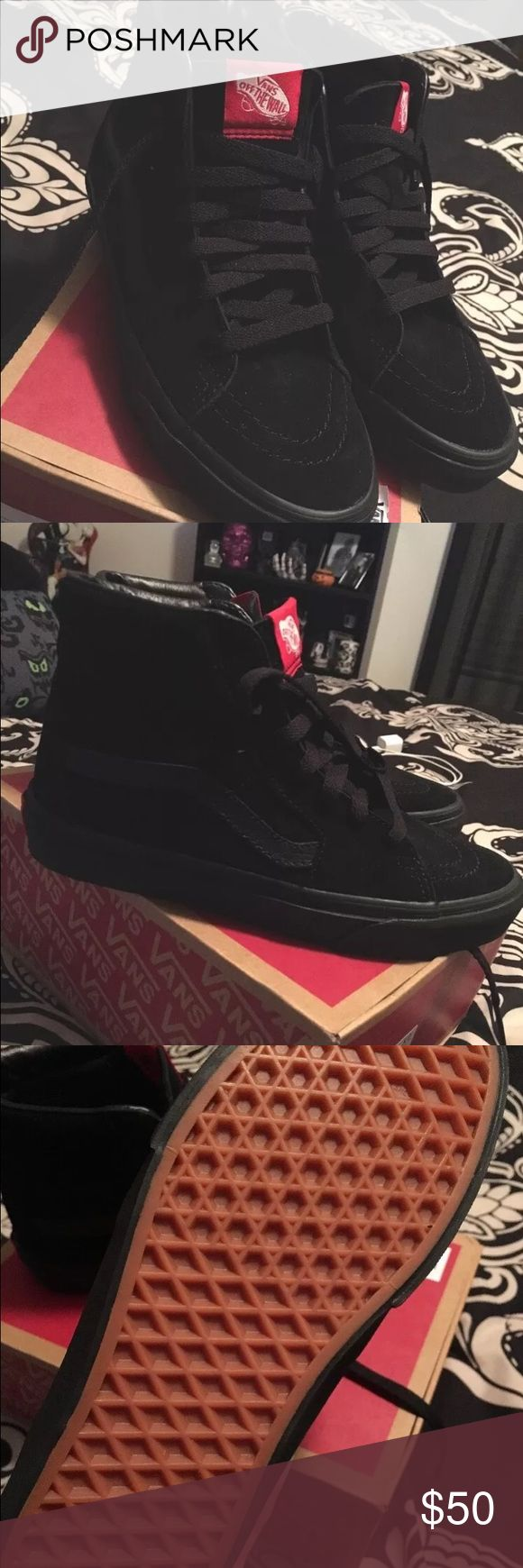 NEW! Vans sk8 hi all black suede high top sneakers Brand new pair of Vans sk8 hi black on black suede high tops. Men's size 5 / women's size 6.5. Never been worn. I got these as a gift but I already have a pair of black vans. Feel free to ask any other questions. These shoes go for $65 (+ shipping and tax) on the Vans website. Don't pass up this deal! Vans Shoes Sneakers