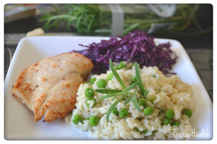 Tasty Health: Smal, krämig ärtrisotto med ugnsstekt kyckling