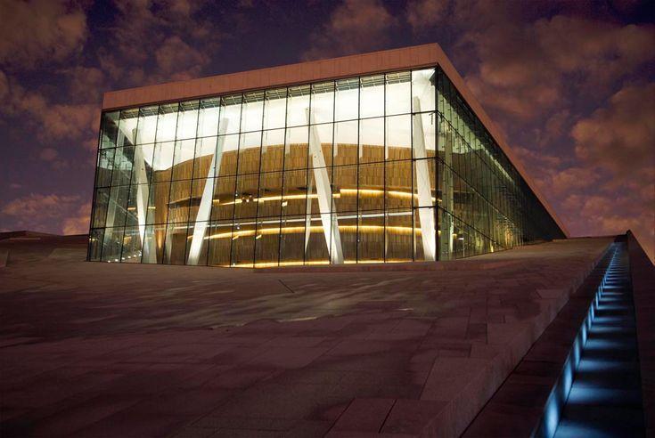 Oslo Opera House wooden foyer through the high glass facade, designed by Snohetta #architecture