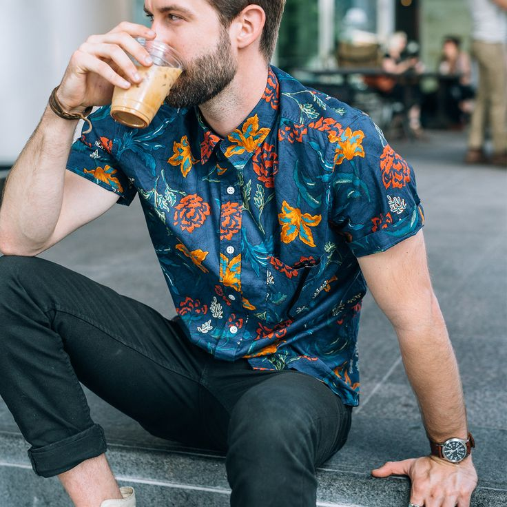 Floral is the new plaid.  #floralformen at weathered coalition. Corridor_Lily_Floral_Shirt men's printed shirt