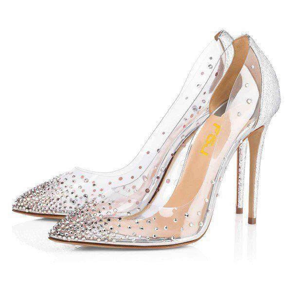 Silver Rhinestone Clear Pumps Stiletto Heels Wedding Shoes For Work Date Fsj Womensfallfashionoutfitsforwo Stiletto Heels Pumps Heels Pumps Heels Stilettos