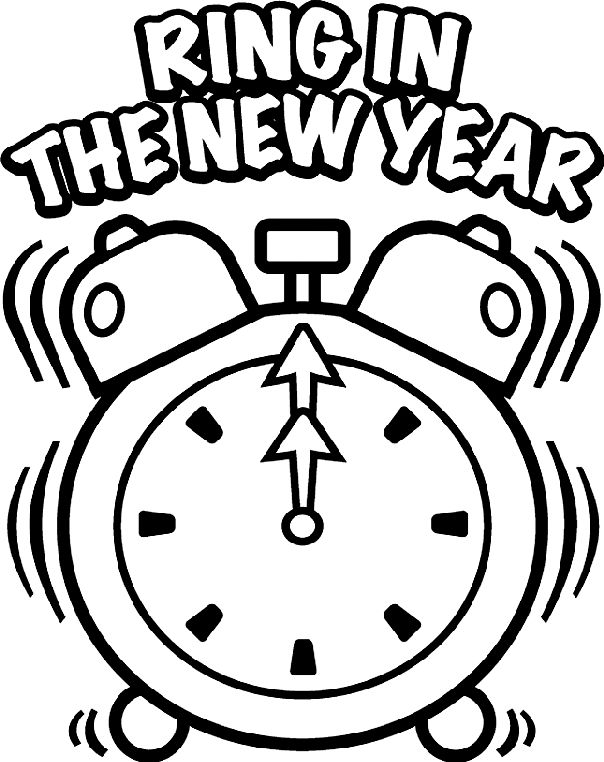 new years clock coloring page