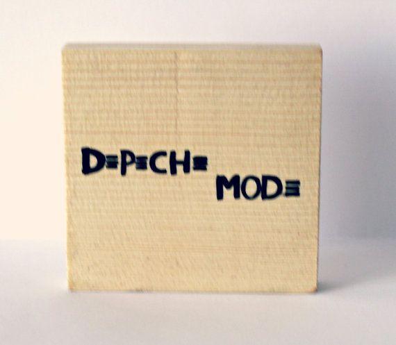 Handmade image transfer on wood. Inspired by music, Depeche mode logo