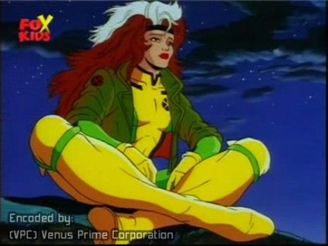 Rogue from the 1990s X-men cartoon. This cartoon made her one of the powerhouses of the team, whilst the movies made her into a whiny weakling. Hooray for character devolution.