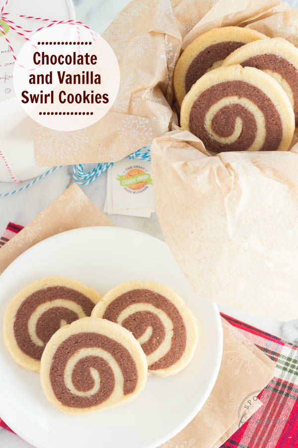 Chocolate and Vanilla Swirl Cookies - Bring a batch to your next cookie swap or bake them to share with friends and family!