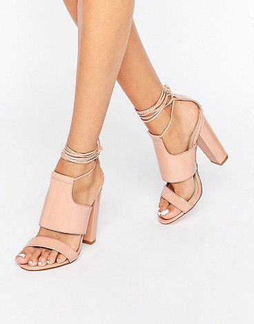 Tie ankle strap block heel by MISSGUIDED. Shoes by Missguided, Patent upper, Tie fastening, Strap detail, Open toe, Block high heel, 100% Polyurethane Upper.