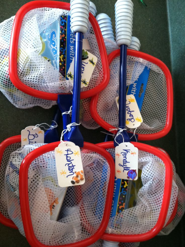 """Aquarium birthday party bags/nets (I purchased butterfly/bug nets and then filled them with """"aquarium themed"""" party favors)"""