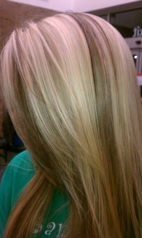 Delaney's hair. Blonde with chocolate brown chunky lowlights. Blonde and brown. Lowlights highlights #kkhhair by suzette by Kim Stillwell