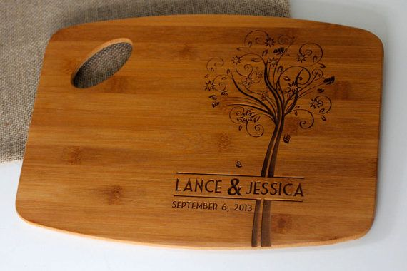 Personalized Wedding Gift Engraved Cutting Board With