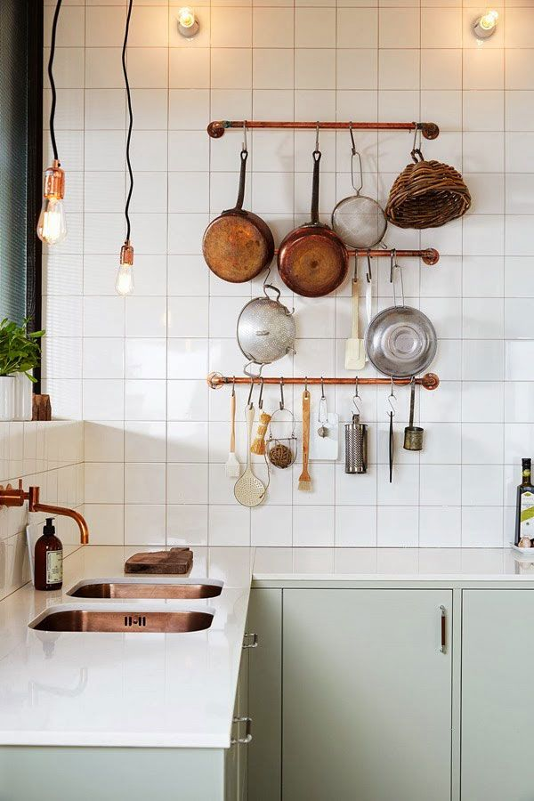 Stylish white ceramic tiles, mint green kitchen and copper accessories. In Love…