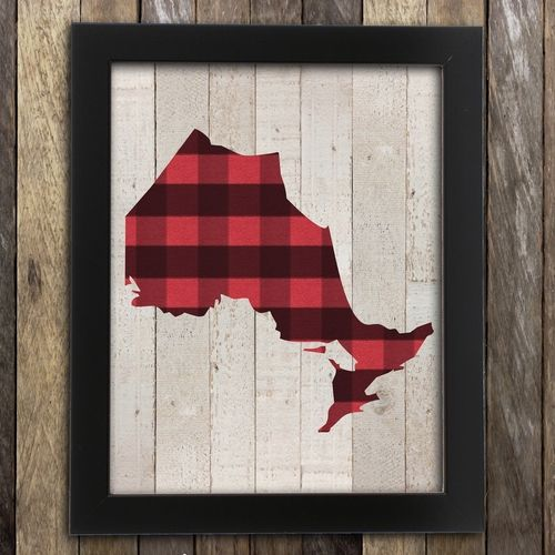 Ontario Cottage Decor Art Print Plaid  Map