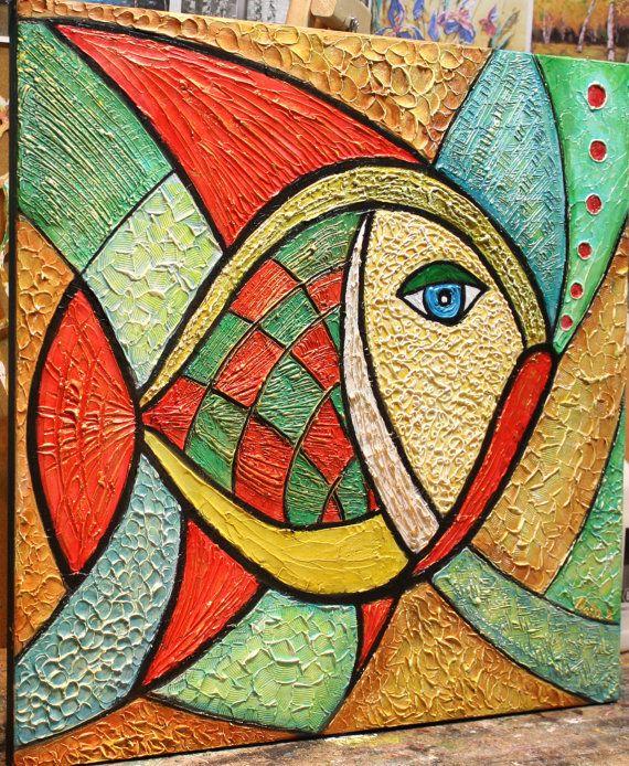 Original pintura de pescado abstracta Textured por NataSgallery