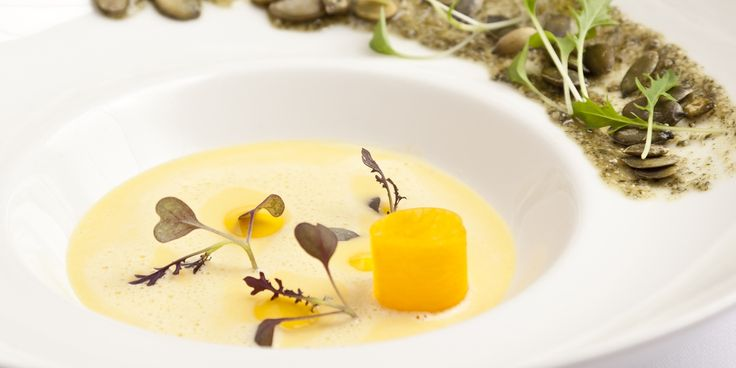 Simon Gueller's butternut squash velouté recipe also contains pumpkin seed paste, pumpkin oil and pickled butternut