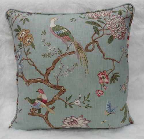 GP J Baker Fabric Oriental Bird Cushion Cover Eau de Nil Linen Chinoiserie   eBay
