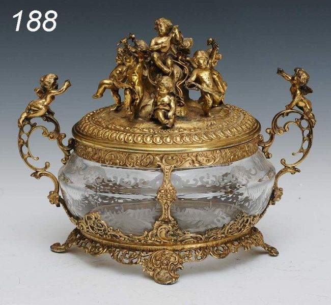 silver gilt centerpiece GERMAN GILT SILVER CENTERPIECE with etched crystal
