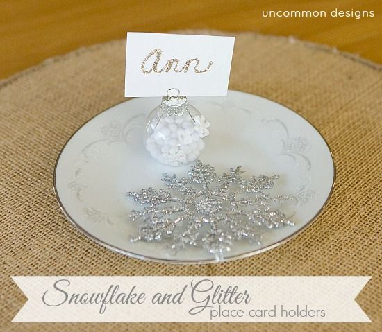 snowflake and glitter place card holders a simple diy project