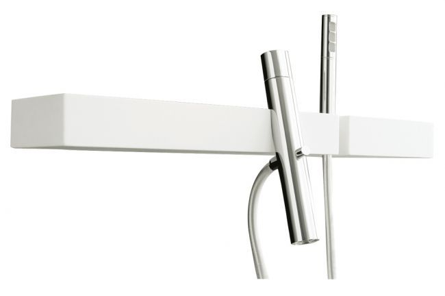 Aquabrass's stylish tub filler with hand shower and shelf / Blok Collection