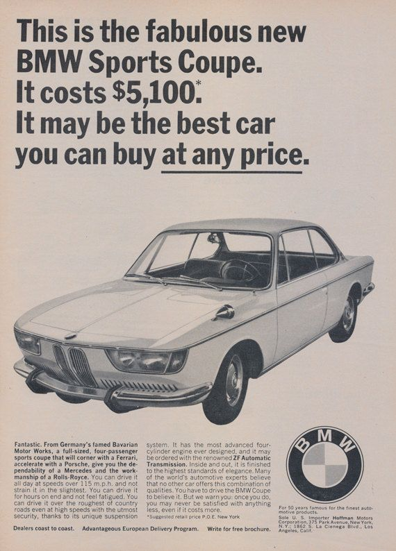 1966 BMW Sports Coupe Car Ad Bavarian Motor Works by AdVintageCom