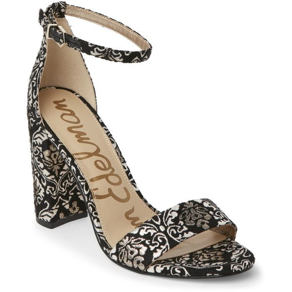 Sam Edelman Black & Gold Yaro Brocade Block Heel Sandals ($60) ❤ liked on Polyvore featuring shoes, sandals, black, block heel sandals, gold high heel sandals, black block-heel sandals, black high heel sandals and black block heel sandals