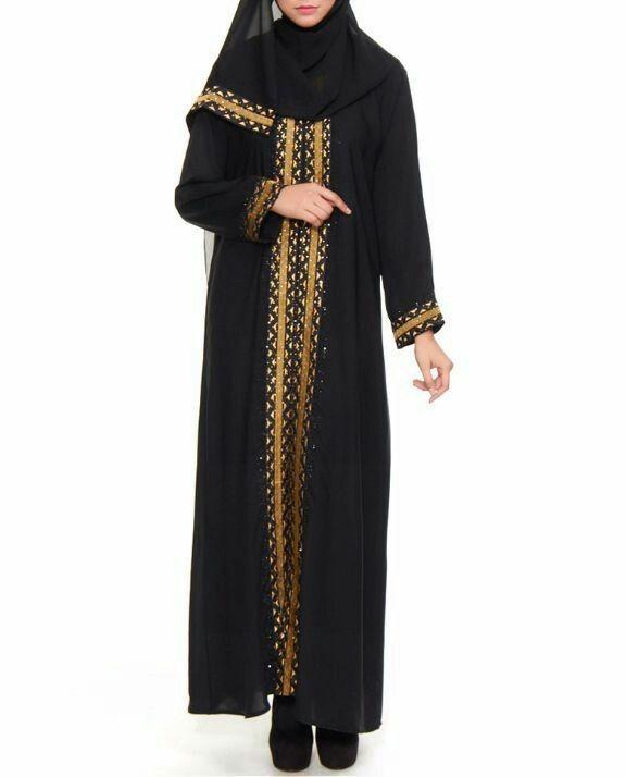 Jubah abaya hitam gold arab dubai erlina