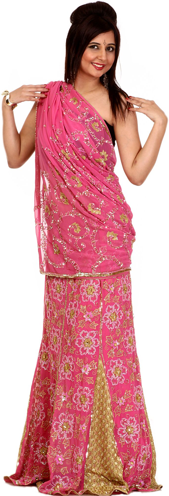 Pink and Khaki Designer Lehenga Sari with Sequins Embroidered as Flowers