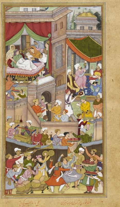 The birth of Timur showing astrologers on the right, drawing up his horoscope. From an imperial copy of Abu l-Fażl's Akbarnāma, c. 1602. Painting ascribed to Sūrdās Gujarātī (Or.12988, f. 34v)