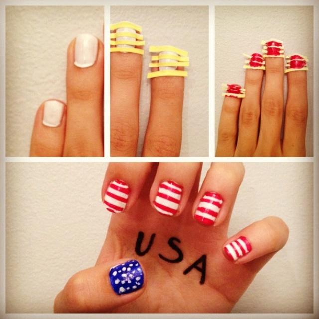 4th of July American Flag Nails #DIY #USA Follow pins + tweets + instagrams @Giselle Ugarte www.sprintinginstilettos.com