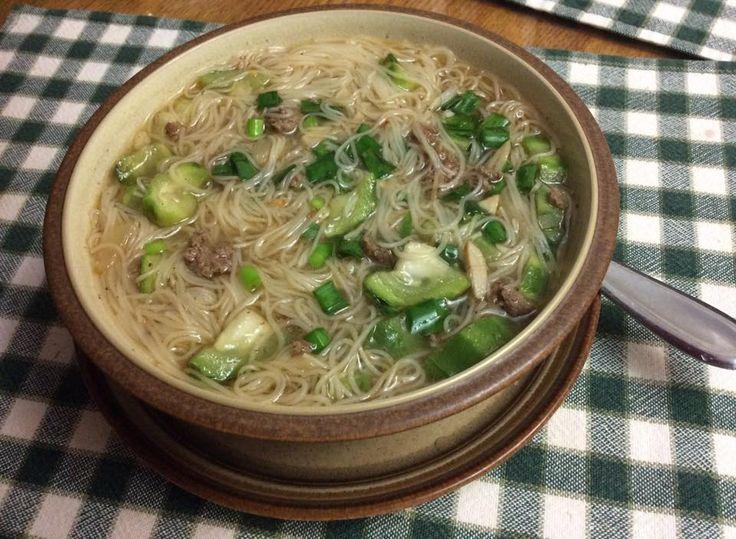 Misua Soup with Kabatiti and ground beef