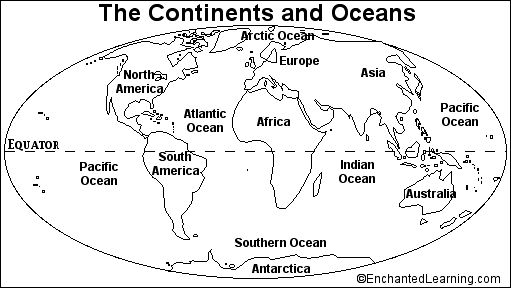 Blank Continents And Oceans Worksheets | Continents and Oceans Quiz Printout - EnchantedLearning.com