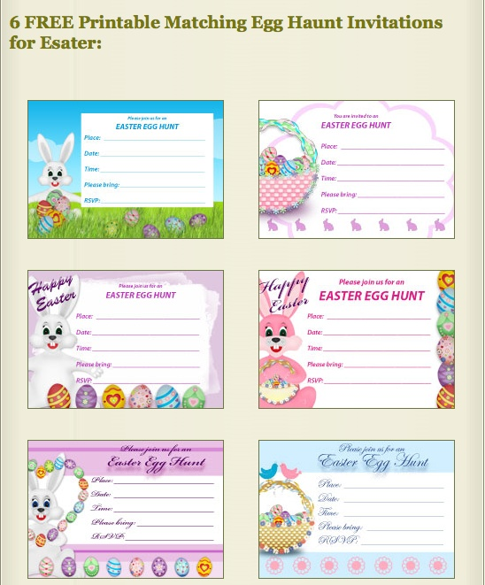 FREE Printable Easter Egg Hunt Invitations at my-free-printable-cards.com