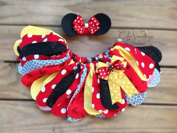 Fabric Tutu TEA WITH  Minnie mouse birthday red by ChicSomethings, $36.00