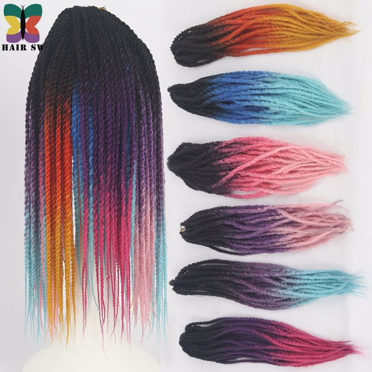 """HAIR SW Long Senegalese Twist Kanekalon Synthetic Hair Extension Crochet Braid Ombre Three tone colors 20"""" 3pc/pack Afro Twist"""