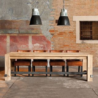 Industrial wood dining table.