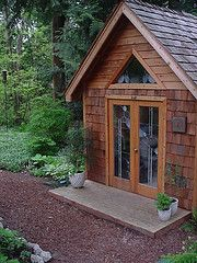 Garden shed with french doors