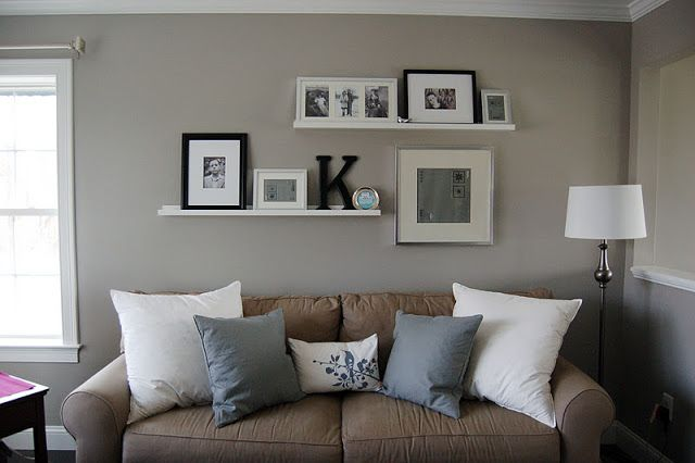 shelves behind couch
