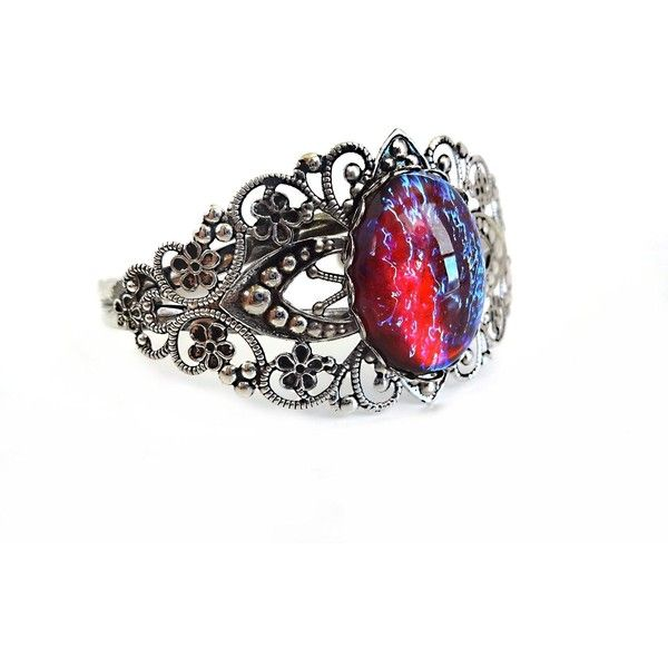 Mexican Opal Dragons Breath Cuff Color Changing Bracelet Red Blue... ($24) ❤ liked on Polyvore featuring jewelry, bracelets, blue jewelry, blue opal bracelet, blue bangles, glass bracelet and opal bangle