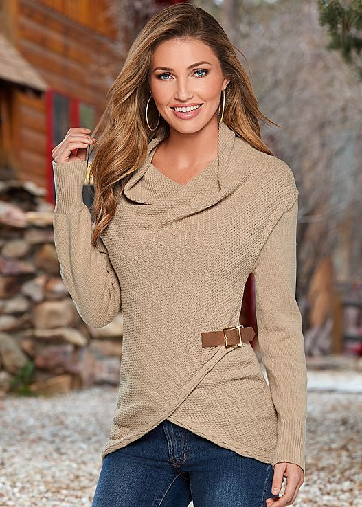 Side buckles add that extra amount of detail. Venus side buckle detail sweater.