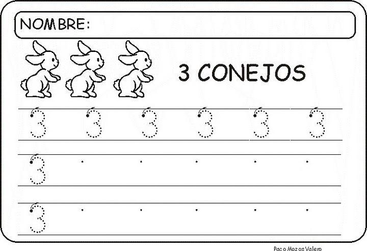 Fichas para aprender y repasar el Número Tres, aprender, trabajar la grafomotricidad y lectoescritura con el número tres, contar, dibujar y colorear, etc.