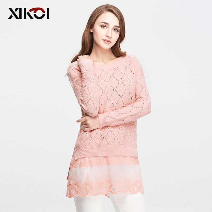 Lace Solid Long Ladies Knitted Female Pullover Women's Sweaters $45.95 => Save up to 60% and Free Shipping => Order Now! #fashion #woman #shop #diy www.clothesworld....