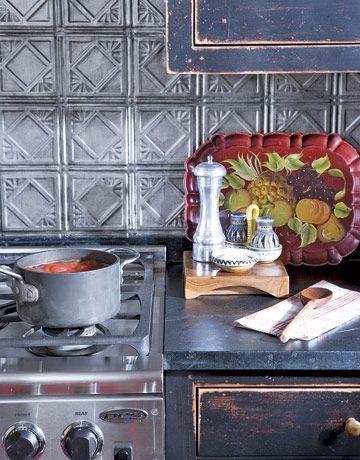 Pressed Tin painted backsplash -- so rustic and pretty.