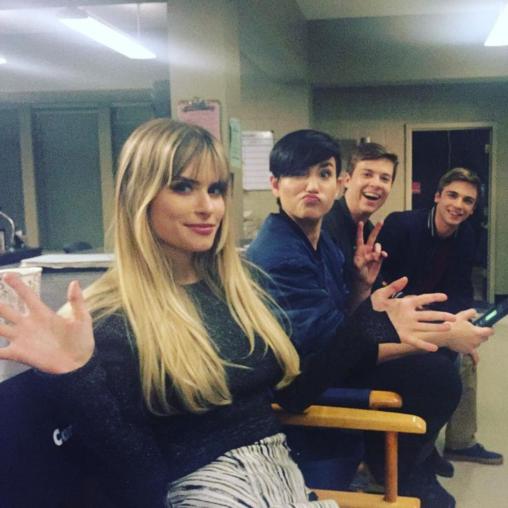 Carlson Young, Bex Taylor Klaus, John Karna, and Sean Grandillo