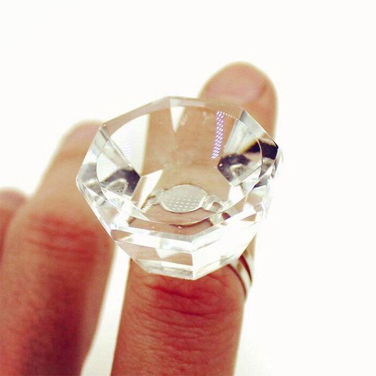 New glue holder Crystal Glue Rings False Eyelash Glue Holder Adhesive Holders Eyelash Extensions Glue Silver Sticker