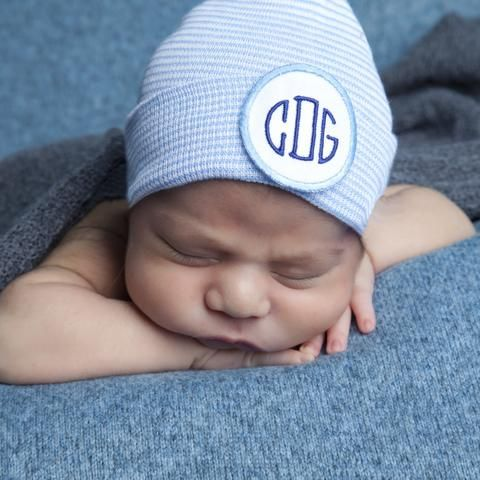 Blue and White Striped Monogram PATCH Newborn Boy Hospital Hat #Melondipity