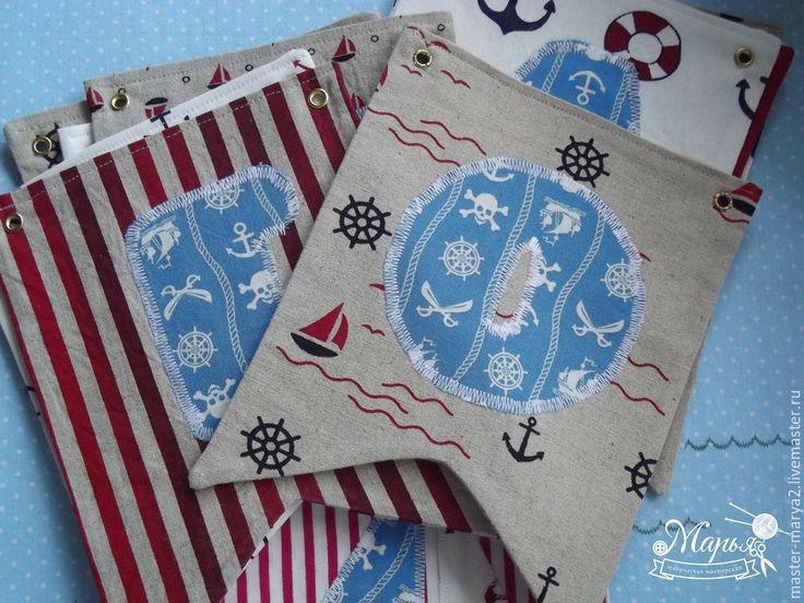 Купить Текстильные флажки-гирлянда - комбинированный, лен, флажки, гирлянда с…