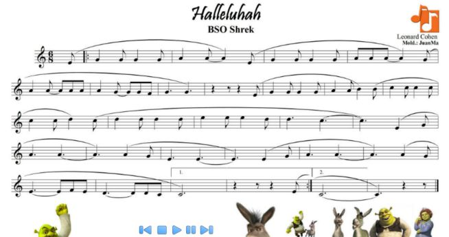Hallelujah de Shrek | Partituras para clase